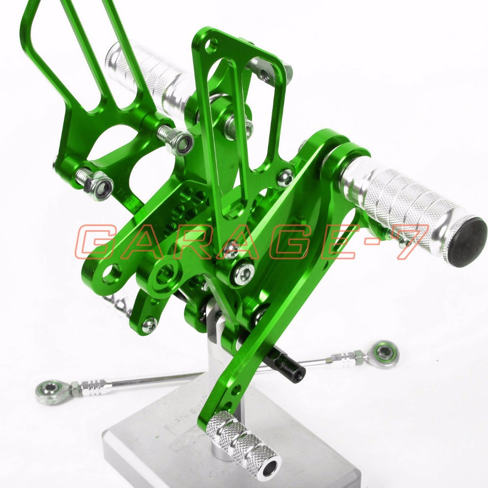 Rearsets Foot Rests Rear Set For KAWASAKI ZX6R 2009-2013 2012   Motorcycle Foot Pegs Adjustability A New Green CNC Adjustable