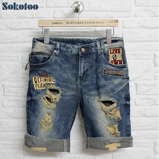 Sokotoo Summer lovers ripped jeans holes denim capris plus size embroidery roll up hem shorts male and female Free shipping