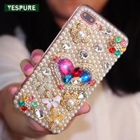YESPURE Bling Glitter Kristal Inciler Cep Telefonu Aksesuarı için Kapak Kılıf Iphone 7 TPU Lüks Kadınlar için Telefon Kılıfı