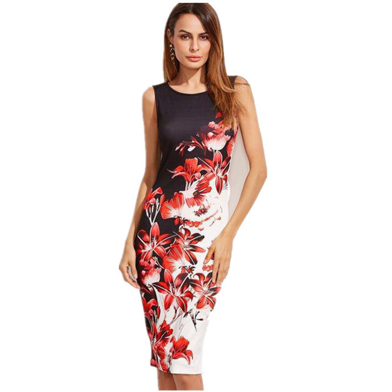 5XL Large Sizes 2019 Summer Fashion Sleeveless Print Dress Slim Bodycon Pencil Midi Office Dress Robe Plus Size Women Clothing in Dresses from Women 39 s Clothing