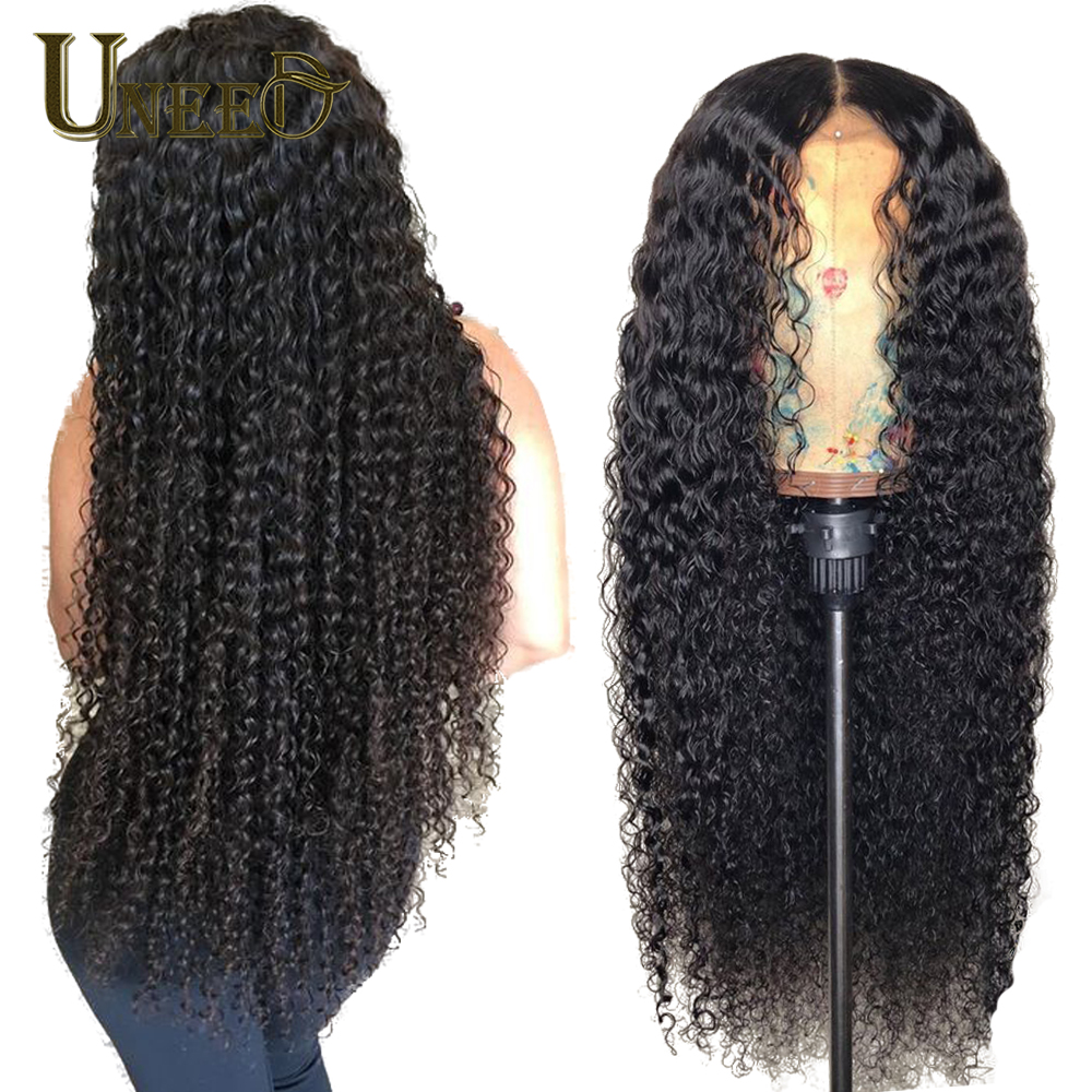 Uneed Brazilian Kinky Curly Human Hair Wigs for Black Women Lace Front Wig Pre Plucked 13x4