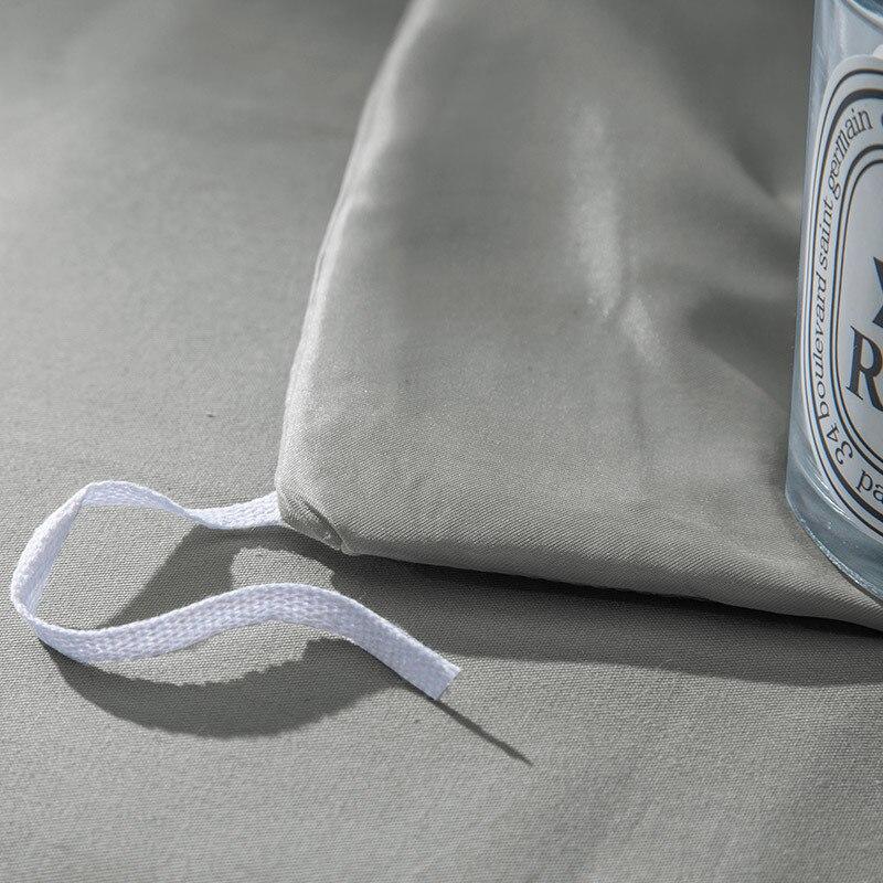 Doux gris pince pli Design housse de couette ensemble coin cravates coton Pintuck décoratif literie ensemble reine roi 4 pièces - 4