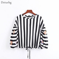 Deturbg Women's Fashion Geometric Embroidery Short Shirt Female Casual Long Sleeve Black Stripe Loose Crop Top Blouse 2017 Br437