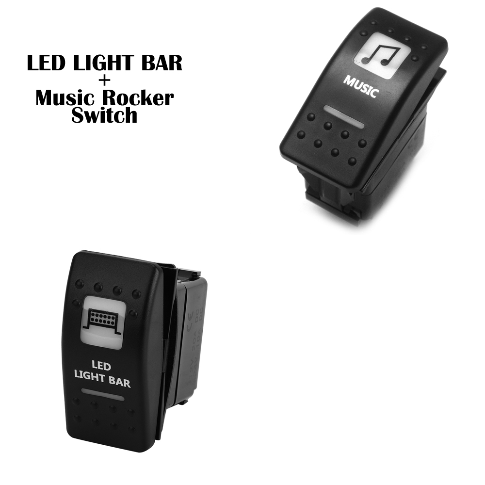 1 Set LED Light Bar And Music Rocker Switch Illuminated For Polaris Ranger 900 RZR RZR4 1000 900 For Can Am Maverick Commander