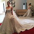 Gorgeous Cathedral train Wedding dresses 2016 Robe de mariage Full heavy pearls beads flowers backless Scoop cap Wedding Gowns
