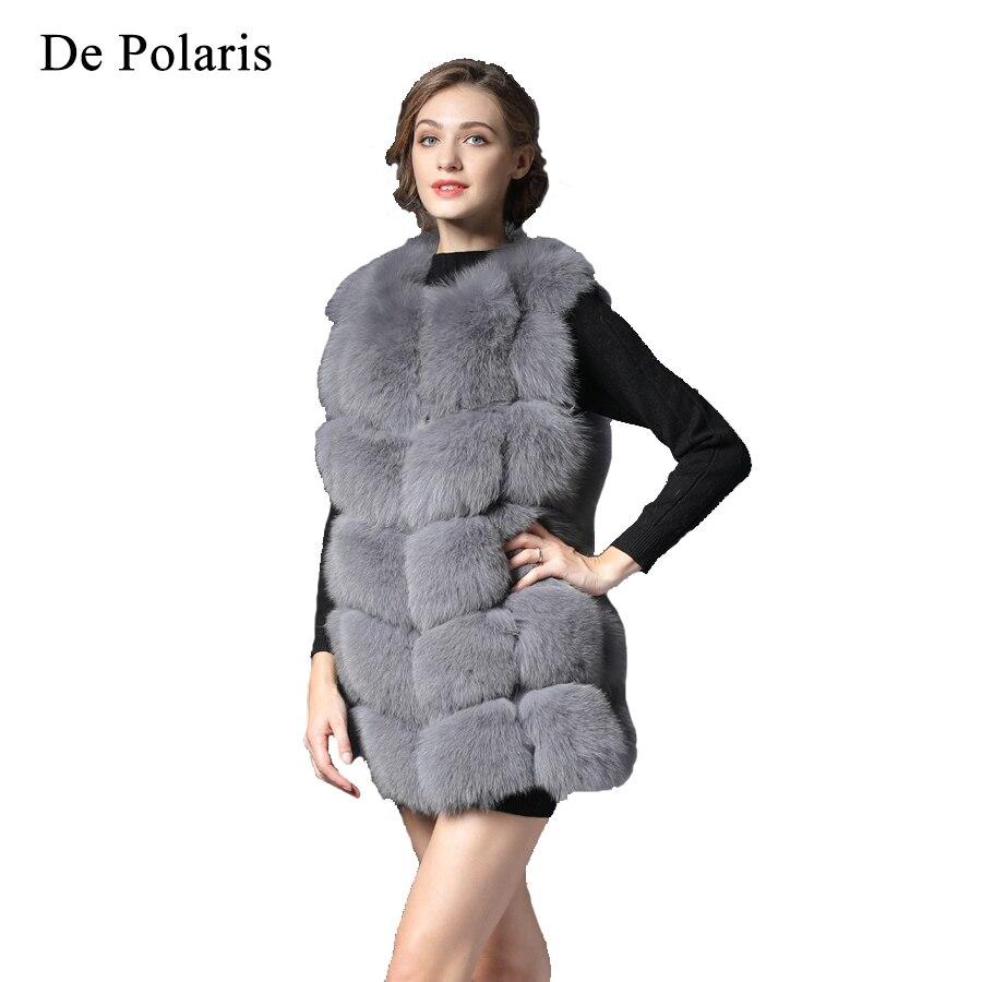 New Real Fur Vest Women Winter black Gray Fox Vest Waistcoat natural Waistcoat 75CM natural Real Fur Vest for Female Short DHL