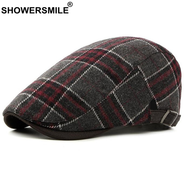 SHOWERSMILE Red Plaid Berets Men Wool Classic Navy Flat Cap Women  Adjustable Casual Cap England Style Autumn Brand Duckbill Hat 1b1292fc0b9