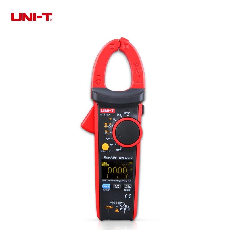 UNI-T ut216d True RMS цифровой Токовые клещи НТС V. f. c фонариком ac/dc Текущее измерение/Емкость Ом freq темп