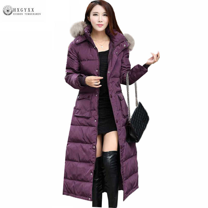 75009c0f8 2019 Winter Woman Fur Collar Hooded Duck Down Coat Plus Size Warm Long  Feather Jacket Solid Color Slim Female Down Parka Oka735