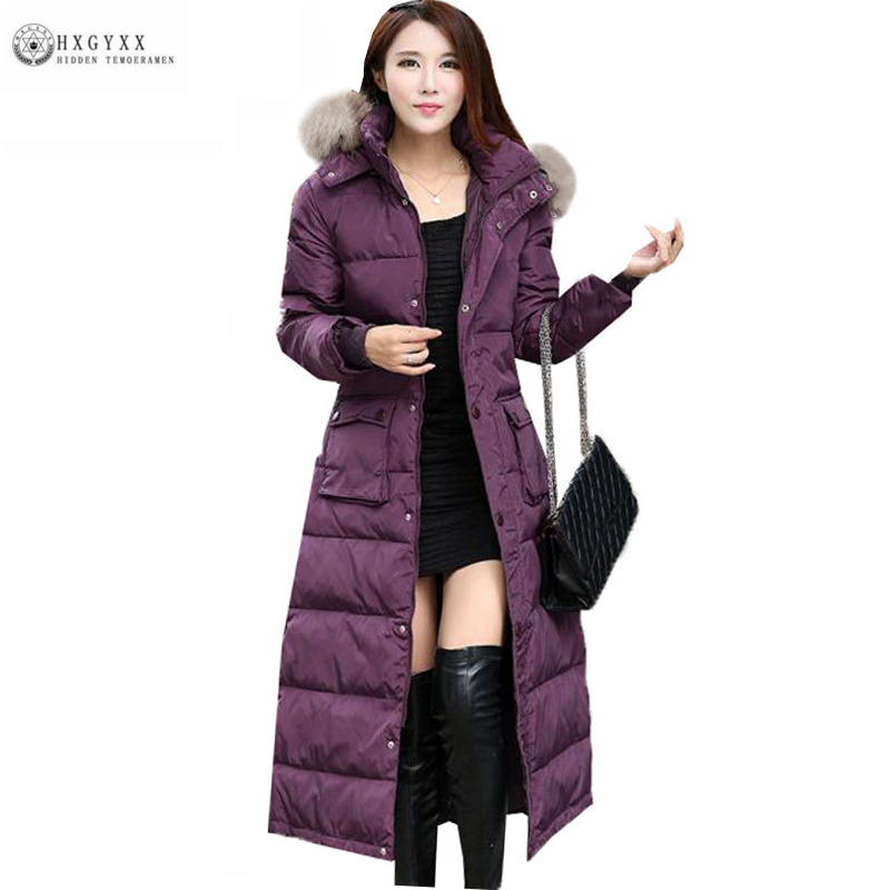 2019 Winter Woman Fur Collar Hooded Duck   Down     Coat   Plus Size Warm Long Feather Jacket Solid Color Slim Female   Down   Parka Oka735