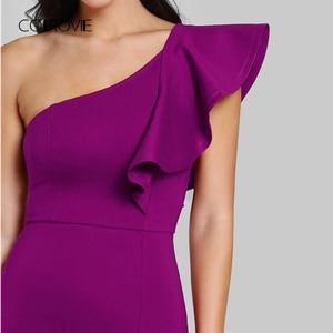 Image 4 - COLROVIE Purple Ruffle One Shoulder Slit Sexy Dress Women 2018 Autumn High Waist Sleeveless Party Dress Elegant Long Dresses