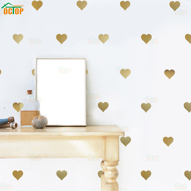 little gold hearts wall stickers removable home decoration art wall