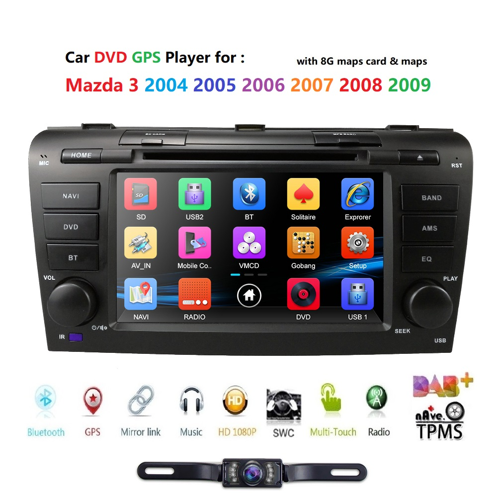 2 Din 7 Inch Car DVD Radio Player For Mazda 3 2004-2009  Multimedia Gps Navigation Monitor Steering Wheel BT RDS Dab Free Camera