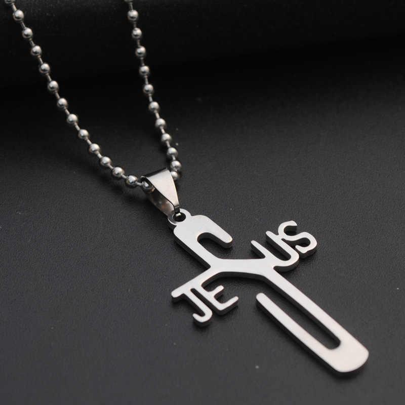 Fashion Necklaces JESUS Cross Pendant Stainless Steel Necklaces & Pendants Leather Chain Women & Men Jewelry Bijouterie