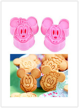 Free shipping 2PCS Little Mouse shape Fondant Cake Cookie Decorating Sugarcraft Plastic mold Plunger Cutter