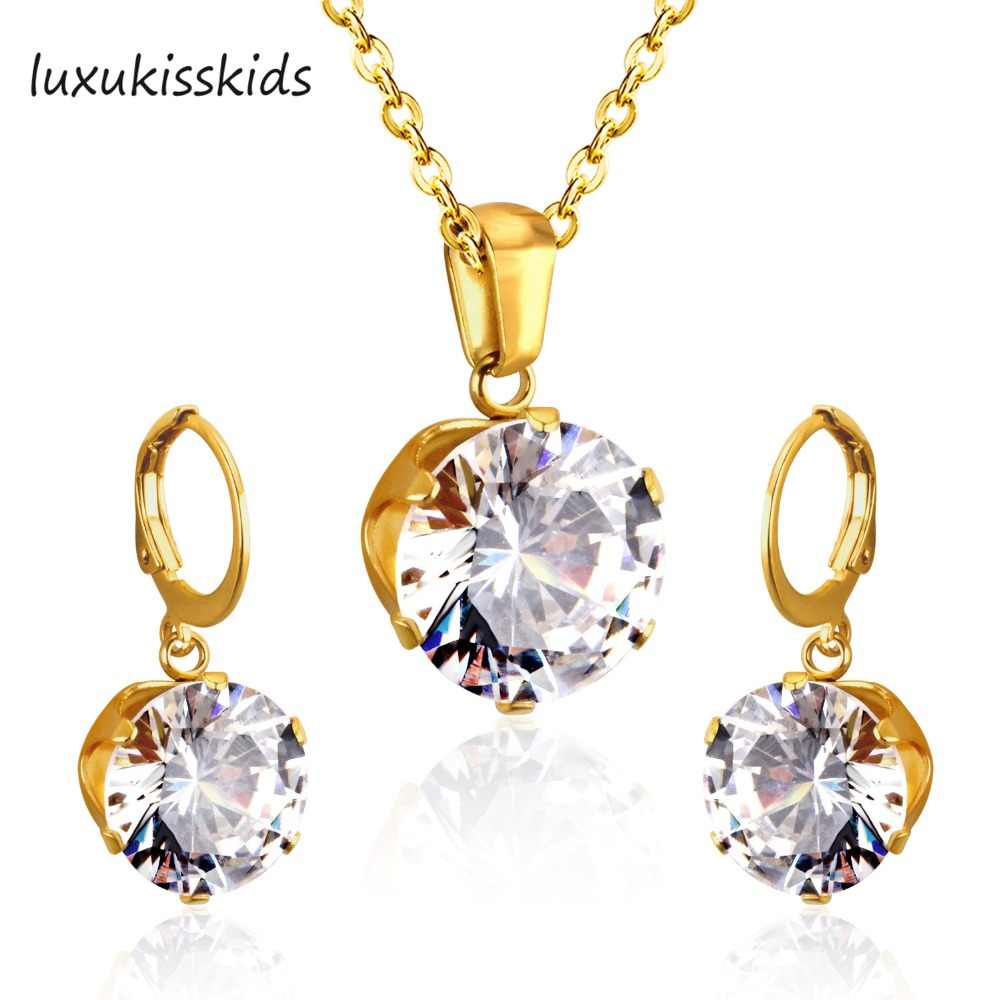 LUXUKISSKIDS Luxury Gold Color Bridal Jewelry Sets & More for Women Wedding with High Quality AAA Zircon