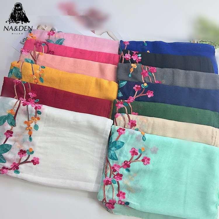 NEW Women Plain Solid Embroidered Scarf Muslim Hijabs Scarves Islamic Fashion Wraps Bandana Shawls Heads 10pcs/lot Fast Shipping