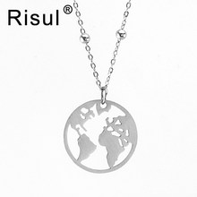 Risul matte Stainless steel world map necklace ball fix on Thin Rolo chain women Necklace Choker princess chain wholesale 10pcs(China)