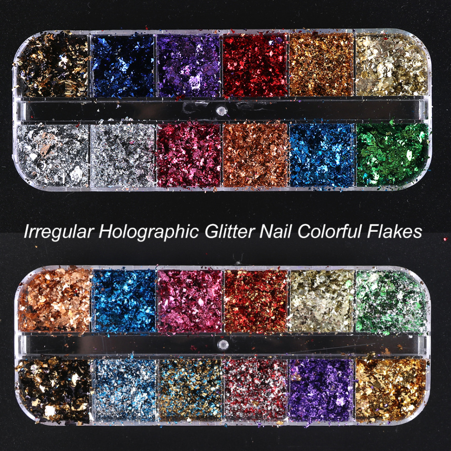 Image 2 - 12 Grid Broken Paillette Nail Glitter Irregular Mirror Nail Flakes Sequins Holographic Powder Nail Decoration Gel Polish CH950 1-in Nail Glitter from Beauty & Health