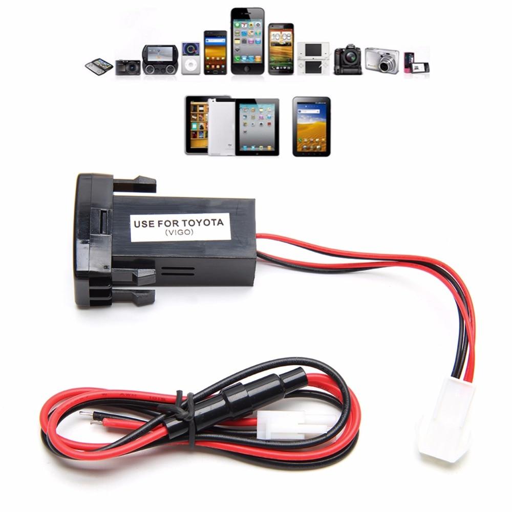 OOTDTY New USB Double 2-port Universal Chargeur De Voiture Dans La Voiture Prise Adaptateur 12 V Pour Toyota VIGO