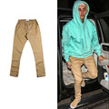 2016 Justin Bieber Black Khaki Side Zipper Harem Pants Fashion Men Jogger Mens Jumpsuit Club Wear Chinos Yezzy Fear Of God