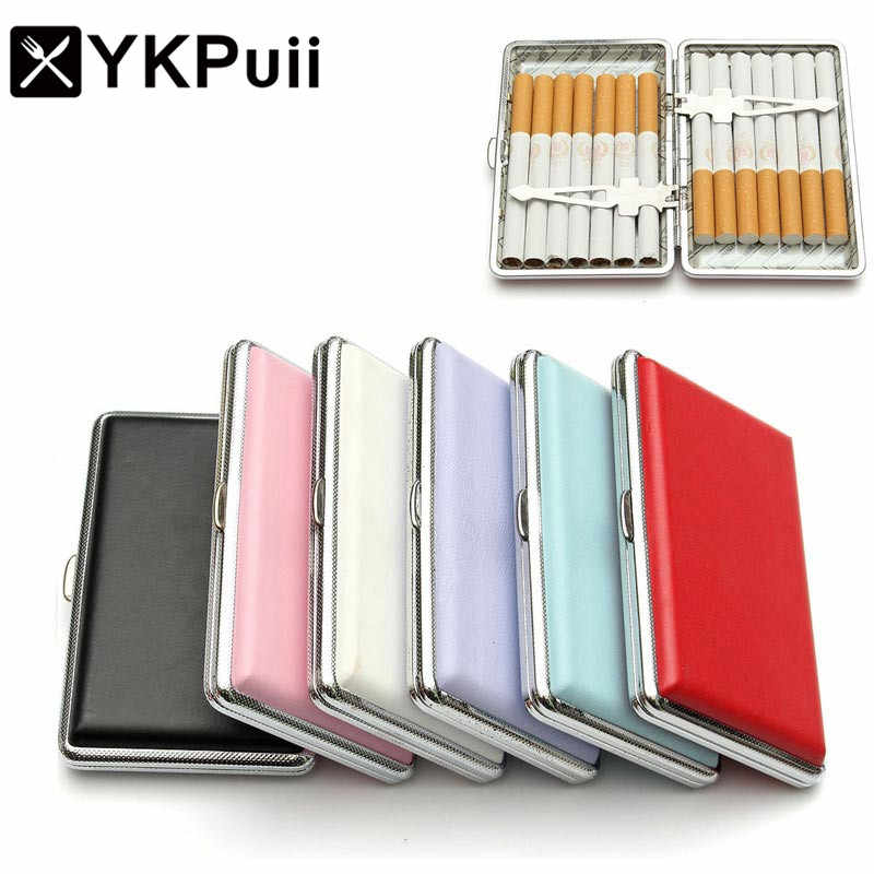 YKPuii 1pc Cigarette Case  Pocket-box Solid Colors Leather Tobacco Cigarette Case Box Container Smoking Pouch for 14 Cigarettes