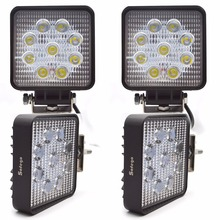 """4PCS LED Work Light 4"""" Inch 27W Flood Fog Driving Lamp 12V for Motorcycle Tractor Truck Trailer SUV Offroads Boat 4WD Work Light"""