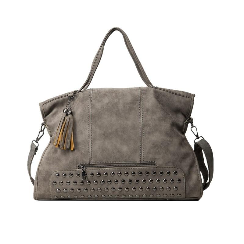 Vintage Rivet Nubuck Leather Women Bag Fashion Tassel Messenger Bag Tote Bags Women Large Capacity Shoulder Bag Bolsas Feminina