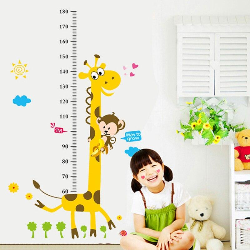4 Cute Monkeys Wall Decals Sticker Nursery Decor Mural: 3D Monkey Giraffe Height Measure Wall Stickers Removable