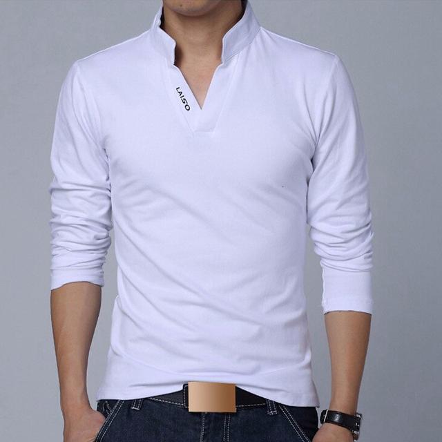 2017 Camiseta de Los Hombres de La Manga Completa Primavera Verano V-cuello Ocasional Del Algodón cuello alto camisa de polo más el tamaño 4xl 5xl hombres de la marca ropa