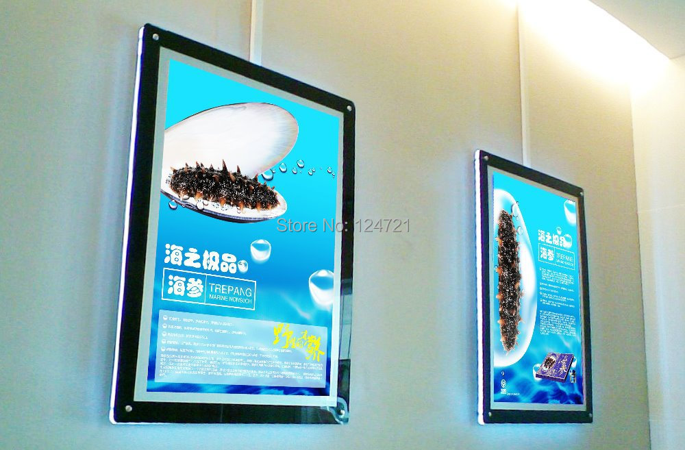 Wall Mounted Acrylic Photo Frame LED a1 Magnetic Ultra-thin Light Box Sign ...