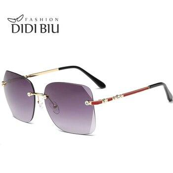 DIDI 2017 Rimless Clear Lens Rhinestones Sunglasses Women Prescription Frames Diamond Cutting Glasses Square Shades Uv400 W693 çerçevesiz güneş gözlük modelleri bayan