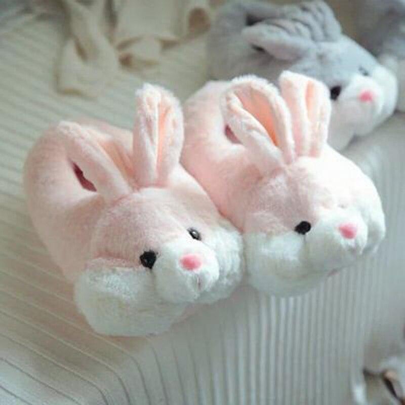 99264129fce Rabbit Slippers Children Bunny Shoes Kids Fur Slippers Winter Warm Baby  Girls Flip Flops Boys Animal