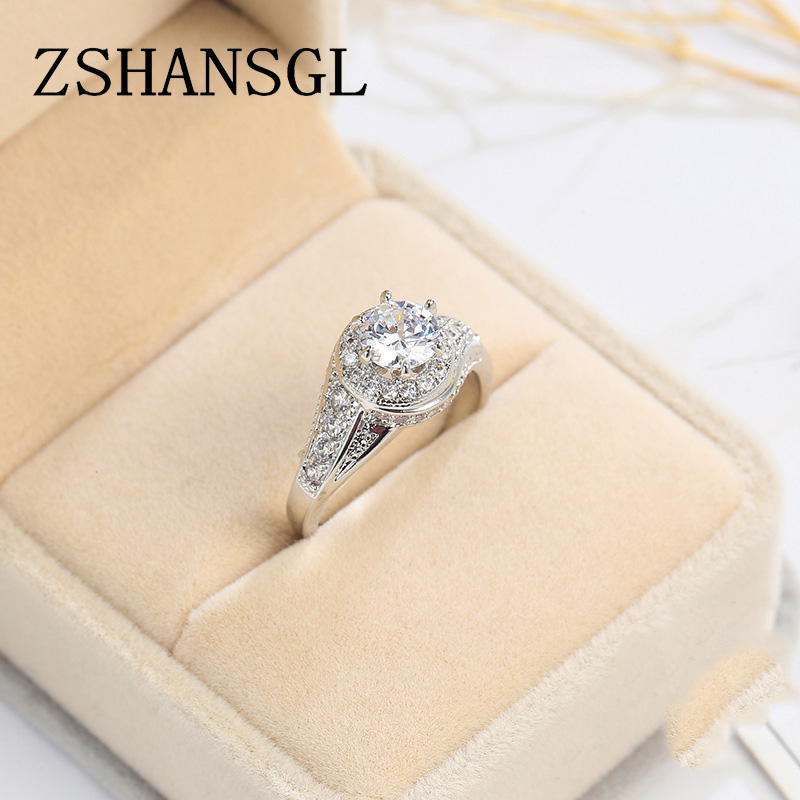 4 Colors Fashion Jewelry Ring 2ct AAAAA Zircon CZ 925 Sterling Silver Cross Engagement Wedding Band Ring For Women