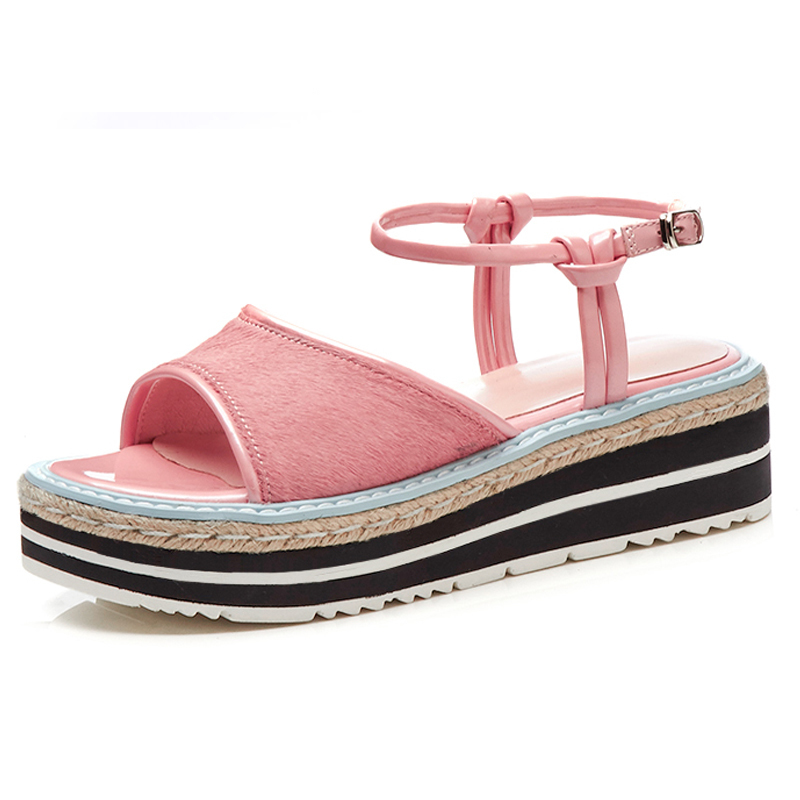 8f2815d85a97b Casual D emballage Femmes De R 333 Black Sandales Open Chaussures pink toe  5 5 D été Cm 2018 Plate Compensées Crin Semelles ...