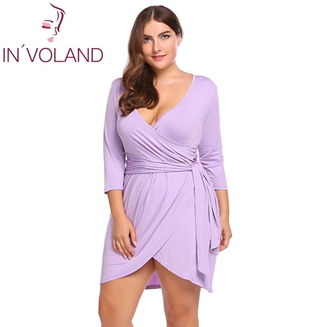 IN'VOLAND Femmes Parti Robe Plus Taille L-4XL Été Sexy V-cou 3/4 Manches Asymétrique Auto-Tie Wrap Vintage Robes Robes