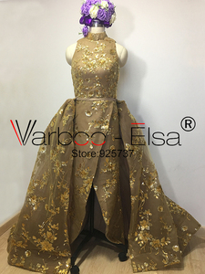 Image 2 - Real Photos gold Luxury Sequined Lace Evening Dresses Halter Hand Pleated Custom Made Vestido De Festa 2017 from Yousef Aljasmi