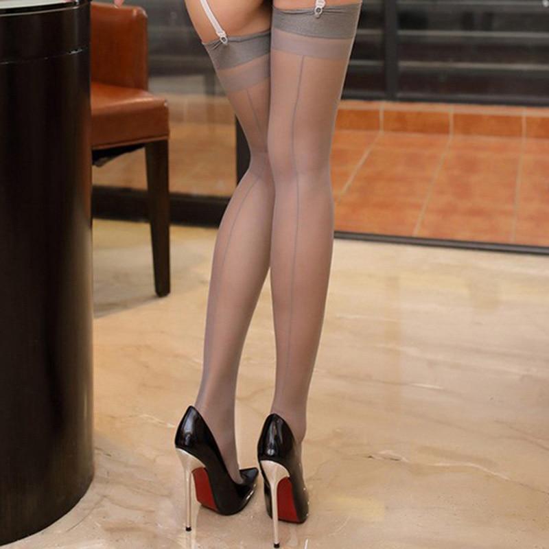 Women Sexy Over Knee Stockings Sheer Thigh High Stocking Back Seam Cuban Heel Stocking Shiny Calze Woman Nylon Medias
