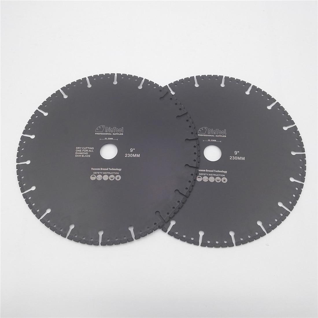 DIATOOL 2pcs 230mm Vacuum Brazed Diamond Blade multi Purpose 9
