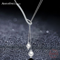 ANFASNI New Design 925 Sterling Siver AAA Cubic Zircon Geometrical Two Pearl Necklaces For Women Fine