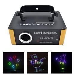 AUCD 500mW RGB Laser SD Card Programma di Animazione DMX Scansione Luci Del Proiettore del Partito Della Discoteca Del DJ Mostra Fascio In Movimento Ray fase di Illuminazione SDF5