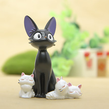 4pcs/lot DIY Studio Ghibli Miyazaki Kiki's Delivery Service Kiki Cat Doll Micro Landscape Anime Cartoon Figurines Fairy Garden M
