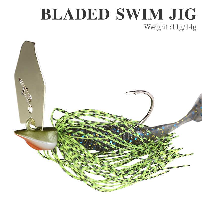 TSURINOYA 11g 14g Spinner Bait Fishing Lure BLADED SWIM JIG Buzzbait Wobbler Metal Jig Bass Soft Lure Lead Hooks Fishing Group