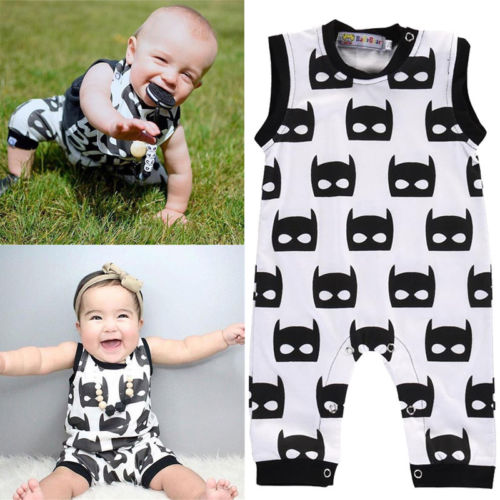 Newborn Infant Baby Boy Girl Kids Sleeveless Cotton Batman Romper Jumpsuit Summer Clothes Outfit newborn infant baby girl clothes strap lace floral romper jumpsuit outfit summer cotton backless one pieces outfit baby onesie