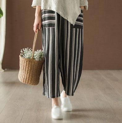 2019 Summer Women Striped   Pants   Loose Casual Ramie Wide Leg   Pants   Elastic Waist Nine Length Female   Pants