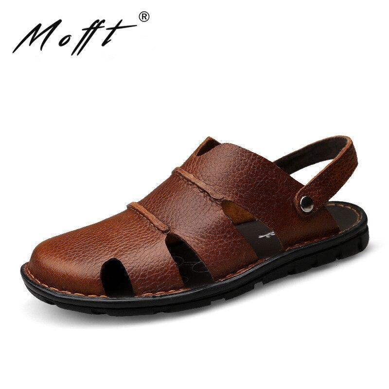New Men Causal Sandals Summer Fashion Designer Genuine Leather Men Sandals Breathable Cozy Beach Sandals Flats