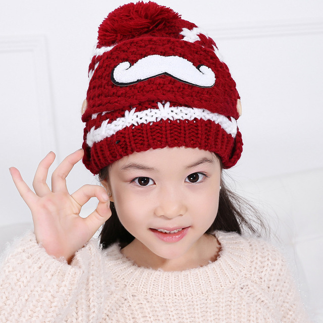 d1583a24939 2017 New Winter Cap Kids Cap Knitting Hats Snow Caps Outdoors Girls Hat  Crochet Beanies Caps Fashion Leisure Warm Hat Beanies