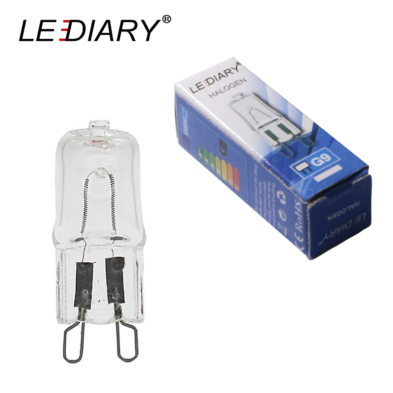LEDIARY 10PCS Dimmable G9 Halogen Bulb 25w/40w/50w 110V/220V 2700K Warm White For Wall Lamp Clear Glass Each With An Inner Box