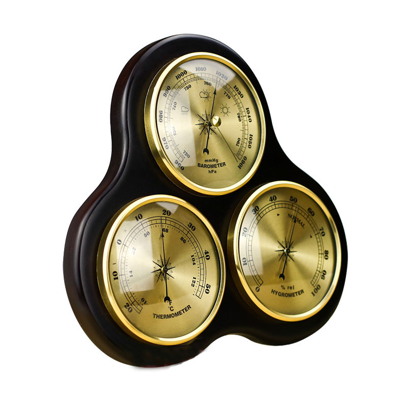 3Pcs/Set Triangle Hygrometer Manometer Thermometer Barometer With Wooden Frame Base Ornaments/Wooden Weather Station Instrument