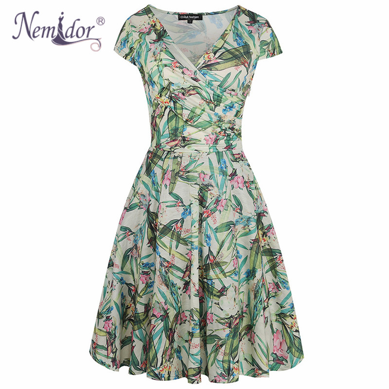 Nemidor Women Vintage Print Casual Short Sleeve Party A-line Dress Vintage V-neck Plus Size Knee Length Swing Dress